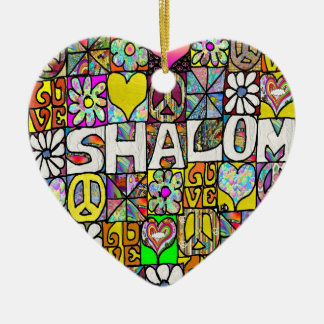 Ornamento psicodélico retro del AMOR de 60s Shalom Adorno De Reyes