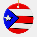 Ornamento puertorriqueño de la bandera adorno navideño redondo de cerámica