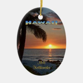 Ornamento: Puesta del sol #1 de Waikoloa (oval) Adorno Navideño Ovalado De Cerámica