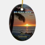 Ornamento: Puesta del sol #1 de Waikoloa (oval) Adorno Ovalado De Cerámica