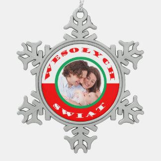 Ornamento Pulimento-Americano del navidad de la Adorno De Peltre En Forma De Copo De Nieve