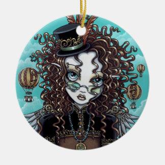 Ornamento punky de la hada del balón de aire del adorno navideño redondo de cerámica