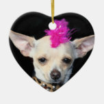Ornamento punky del corazón de la chihuahua adorno de navidad