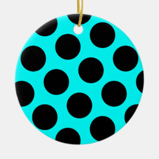 Ornamento punteado polca negra adorno redondo de cerámica