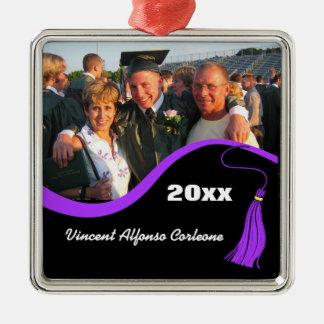 Ornamento púrpura adaptable de la graduación de la adorno navideño cuadrado de metal