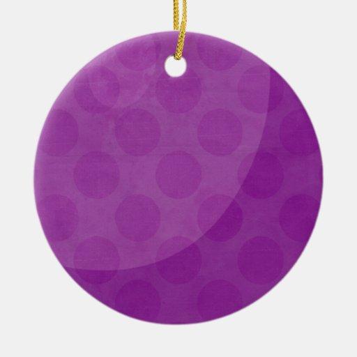 Ornamento púrpura adorno navideño redondo de cerámica
