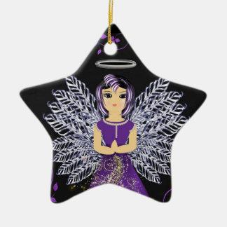 Ornamento púrpura bonito del ángel de guarda adorno navideño de cerámica en forma de estrella