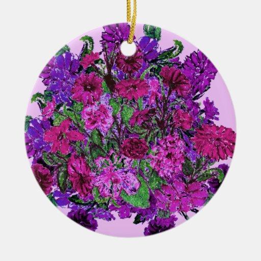 Ornamento púrpura bonito suave femenino de las adorno navideño redondo de cerámica