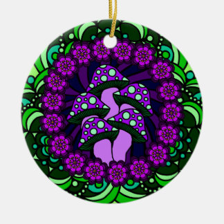 Ornamento púrpura de cinco setas adorno navideño redondo de cerámica