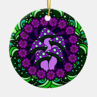 Ornamento púrpura de cinco setas adorno redondo de cerámica