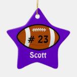 Ornamento púrpura de la estrella de fútbol adorno navideño de cerámica en forma de estrella