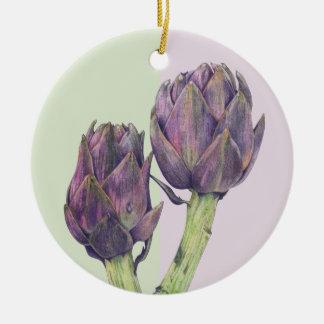 Ornamento púrpura de las alcachofas adorno redondo de cerámica