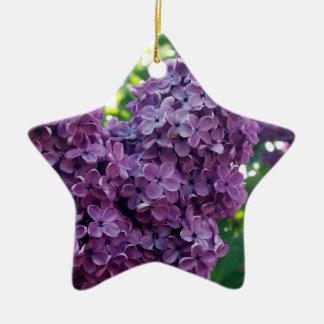 Ornamento púrpura de las lilas adorno de cerámica en forma de estrella
