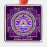 Ornamento púrpura de Sri Yantra Adorno Navideño Cuadrado De Metal