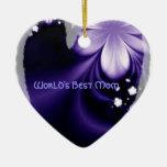 Ornamento púrpura del corazón de la flor de la mej ornaments para arbol de navidad