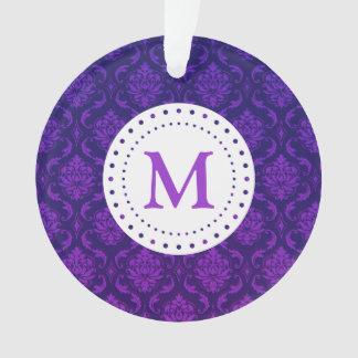 Ornamento púrpura del damasco del monograma