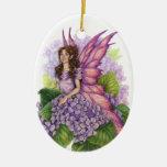 Ornamento púrpura del duendecillo adorno navideño ovalado de cerámica