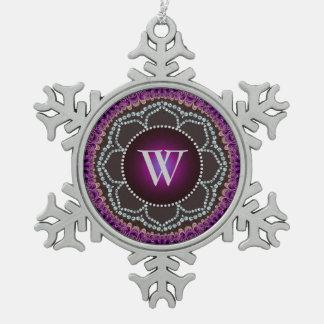 Ornamento púrpura del estaño del monograma de la adorno de peltre en forma de copo de nieve