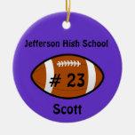 Ornamento púrpura del fútbol adorno navideño redondo de cerámica