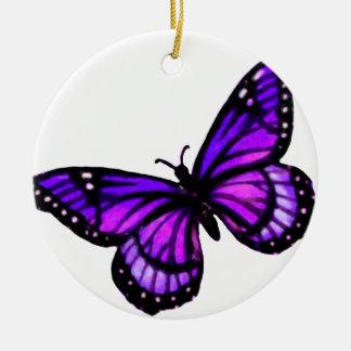 Ornamento púrpura del navidad de la mariposa adorno navideño redondo de cerámica