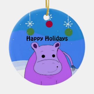 Ornamento púrpura del navidad del hipopótamo adorno navideño redondo de cerámica