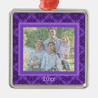 Ornamento púrpura del recuerdo del damasco adorno navideño cuadrado de metal