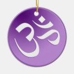 Ornamento púrpura del símbolo de OM Adorno De Navidad