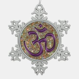 Ornamento púrpura místico del copo de nieve del adorno de peltre en forma de copo de nieve