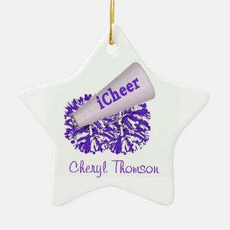 Ornamento púrpura y blanco de la estrella de la adorno navideño de cerámica en forma de estrella