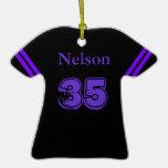 Ornamento púrpura y negro de la camiseta de fútbol ornamento para reyes magos