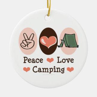 Ornamento que acampa del amor de la paz adorno redondo de cerámica