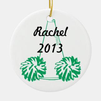 Ornamento que anima verde de encargo adorno navideño redondo de cerámica