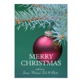 """Ornamento que cuelga del árbol de navidad invitación 5"""" x 7"""""""