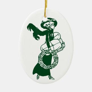 Ornamento que hace compras del navidad de Nouveau Adorno Navideño Ovalado De Cerámica