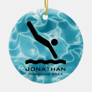 Ornamento que se zambulle personalizado adorno navideño redondo de cerámica