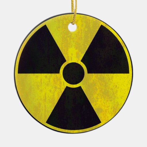 Ornamento radiactivo de la señal de peligro adorno navideño redondo de cerámica