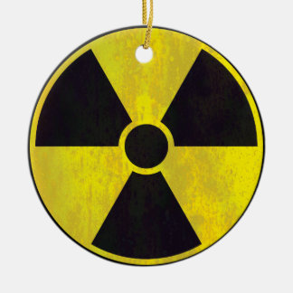 Ornamento radiactivo de la señal de peligro ornaments para arbol de navidad