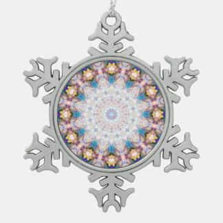 Ornamento radiante del copo de nieve del círculo
