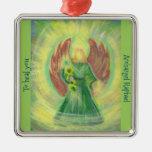 Ornamento: Raphael del arcángel Adorno Navideño Cuadrado De Metal