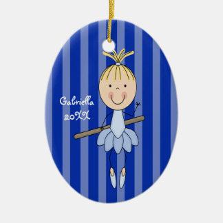 Ornamento rayado azul del navidad de la bailarina ornatos