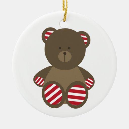Ornamento rayado del navidad del oso adorno redondo de cerámica