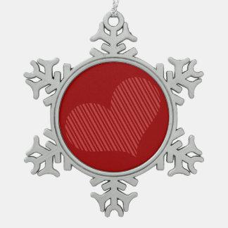 Ornamento rayado rojo del corazón adornos