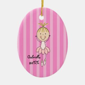 Ornamento rayado rosado del navidad de la bailarin ornaments para arbol de navidad