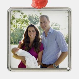 Ornamento real de la plata del bebé adorno navideño cuadrado de metal