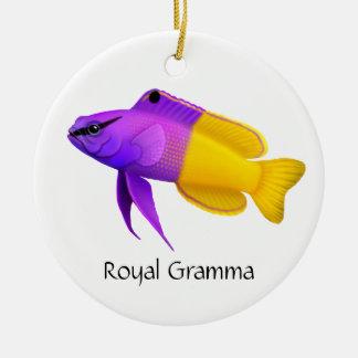 Ornamento real de los pescados del arrecife de adorno navideño redondo de cerámica