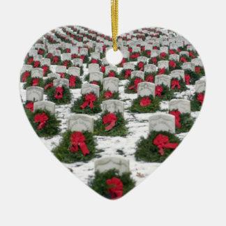 """Ornamento """"recordado"""" del árbol de navidad de los adorno navideño de cerámica en forma de corazón"""
