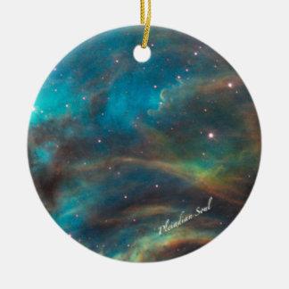 Ornamento redondo #1 de la nebulosa del trullo adorno navideño redondo de cerámica