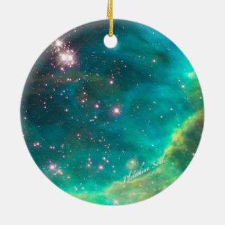 Ornamento redondo #4 de la nebulosa del trullo adorno navideño redondo de cerámica