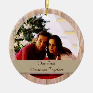 Ornamento redondo adaptable de madera de la foto adorno navideño redondo de cerámica