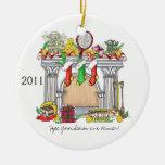 Ornamento redondo, chimenea del tenis, 2011 adorno navideño redondo de cerámica